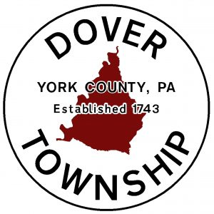 "Background is a red outline of Dover Township. Text is black, ""Dover Township York County, PA Established 1743"""