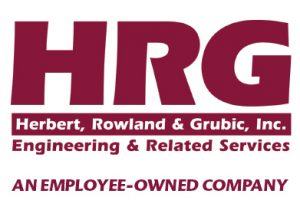 "Red text on white background, ""HRG"" below that there is a red background with white text, ""Herbert, Rowland & Grubic, Inc."" underneath that, white background with red text, ""Engineering & Related Services An Employee-Owned Company"""