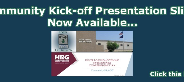 "Dark blue background with white text, ""Community Kick-off Presentation Slides Now Available... click this picture"""