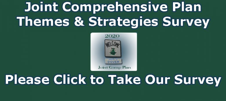 "Green background with white text, ""Joint Comprehensive Plan Themes & Strategies Survey Please click to take our survey!"""