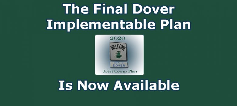"green background with white text, ""The final dover implementable plan is now available"""